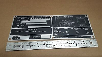 $15 • Buy M105a2c Military Trailer Data Plate M35a2 8683587 9905-00-815-7673 F5-5