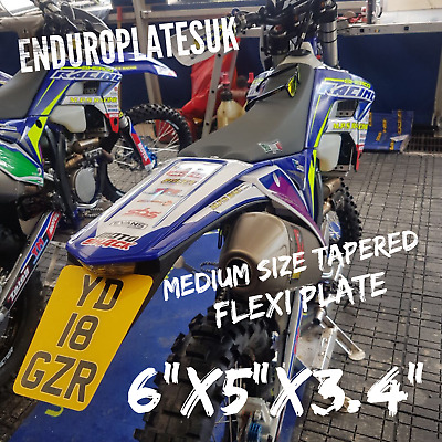FLEXIBLE Medium TAPERED SHOW NUMBER PLATE KTM EXC ENDURO MOTORCYCLE FLEXI REG • 10.99£