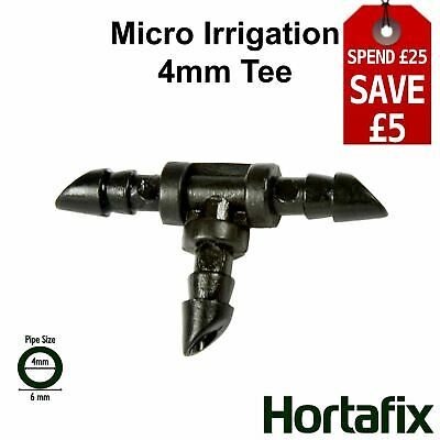 Micro Irrigation Barbed Pipe Tee Fits 4mm (ID) Micro Pipe • 2.99£
