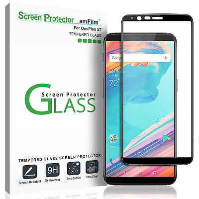 AU11.39 • Buy OnePlus 5T AmFilm Full Cover Tempered Glass Screen Protector (1 Pack, Black)