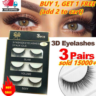 AU2.23 • Buy SKONHED 3 Pairs Soft False Eyelashes Extension Long Mink Lashes Beauty Makeup