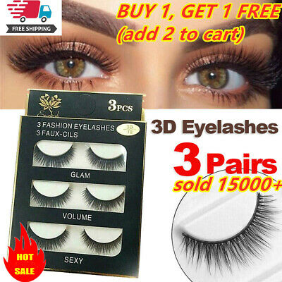 AU2.83 • Buy SKONHED 3 Pairs Soft Mink False Eyelashes Long Lashes Extension Beauty Makeup