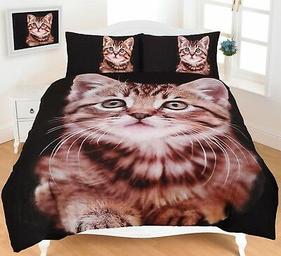 Kitten Duvet Cover Set Bedding Animal Print 3D Super King Size Double Single Cat • 16.49£