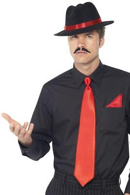 MENS 1920s RED GANGSTER INSTANT KIT ADULT MALE 20s MAFIA FANCY DRESS ACCESSORIES • 5.99£