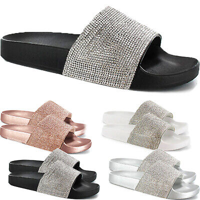 Ladies Womens Slip On Diamante Sliders Slippers Sparkly Sandals Mules Shoe Size • 5.99£