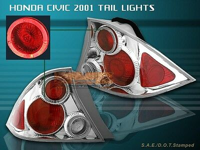$80.50 • Buy Fit For 2001-2003 HONDA CIVIC TAIL LIGHTS CLEAR HALO 2D 2002