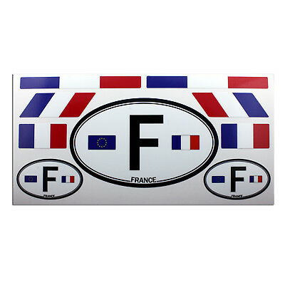 Set Of 9 France Flags And Letter F Car Country Sign Laminated Decals Stickers • 5.78£