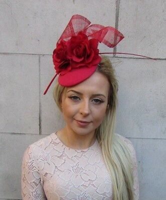 £31.95 • Buy Red Rose Flower Feather Pillbox Hat Hair Fascinator Wedding Races Ascot 5181