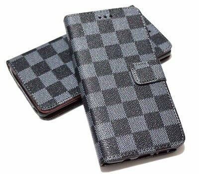 $ CDN11.73 • Buy For SAMSUNG GALAXY S8 Book Style Gray Black Plaid Case Cover Card Pockets Wallet