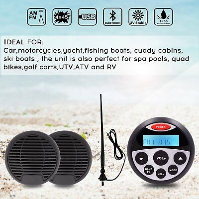 Marine Stereo And Speakers Waterproof Mp3 Player Stereo System Boat Car FM Radio • 85.77$