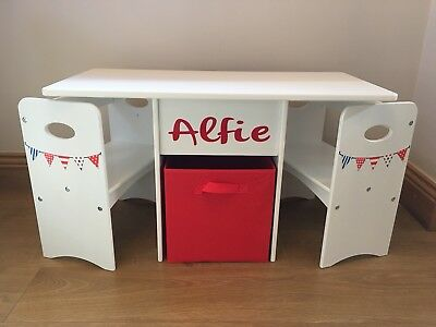 £79.99 • Buy Kids Children Table And Chairs Set Play Lego Boy Girl Red,White & Blue Storage