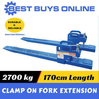 AU392.98 • Buy Front End Loader Clamp On Fork Extension 2700kg Forklift Tractor Bobcat