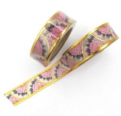 AU5.50 • Buy Pink Gold Foil Washi Tape Scalloped Floral Deco Flower Gilded Crescent 15mmx10m