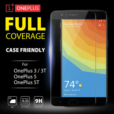 AU3.04 • Buy 5D Full Coverage Tempered Glass Screen Protector For OnePlus 5 5T | OnePlus 3 3T