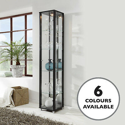 HOME Single Glass Display White Black Silver Beech Oak Effect Wenge Mirror Back • 124£