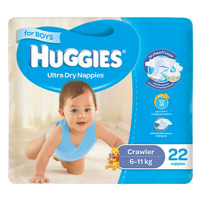 AU16.74 • Buy HUGGIES Crawler 22 Pack 6-11 Kg DryTouch Layer