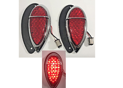 $82.99 • Buy Pair (2) Tear Drop LED Tail Lights & Gaskets For 1938 1939 Lincoln Zephyr Ford