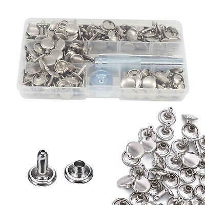100pcs Double Cap Silver Brass Rivets With 3pcs Hand Tool Set For Leather Craft • 8.39£