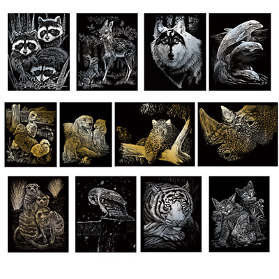 21 Designs Engraving Art Scraper Foil Kit - A4 - Silver Gold Animals Kids  Adult • 4.91£