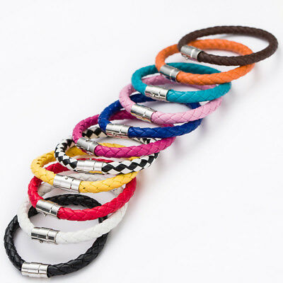 Real Leather Braided Wristband Bracelet Stainless Steel Clasp • 2.65£