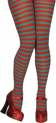 Stripy Elf Tights In Red & Green Christmas Fancy Dress Ladies Costume Accessory • 2.93£