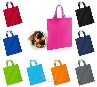 £2.99 • Buy Shopping Bag Bright Tote SHORT HANDLE Bag For Life 100% Cotton Canvas Printable
