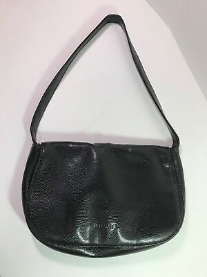 567d7b5ab1 Vtg DESMO Black Croco Leather Hobo Shoulder Tote Purse Bag Italy FLAWED •  10.97