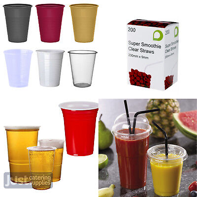 Disposable Drinking Plastic Party Cups - Clear/Coloured - Many Sizes And Styles • 4.49£