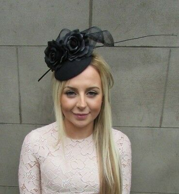 Black Rose Flower Feather Pillbox Hat Hair Fascinator Wedding Races Ascot 5280 • 27.95£