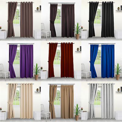 Blackout Curtains Eyelet And Pencil Pleat Thick Thermal Curtains With Tiebacks • 34.99£