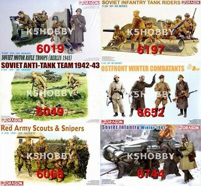 #42 DRAGON 1/35 WWII Soviet Russian Infantry Soldiers Series Figure Model Kit • 17.50£