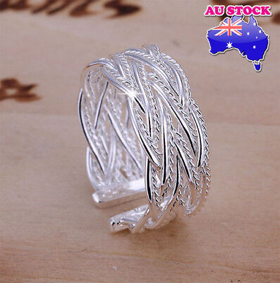 AU7.89 • Buy Wholesale 925 Sterling Silver Filled Adjustable Weave Plain Band Ring Jewelry