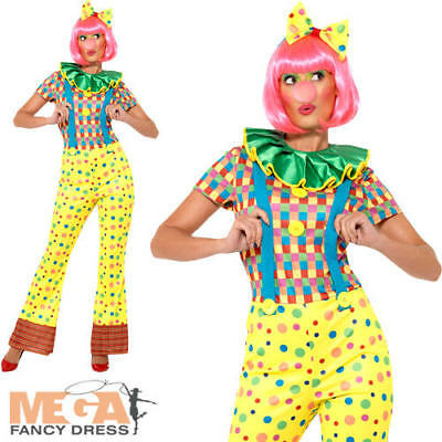 £24.99 • Buy Clown Ladies Fancy Dress Circus Carnival Colourful Spotty Womens Adults Costume