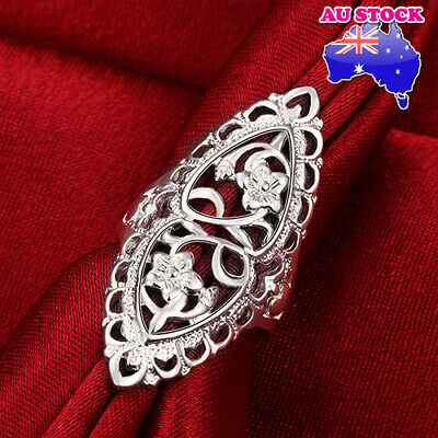 AU9.89 • Buy Wholesale 925 Sterling Silver Filled Oval Filigree Flower Band Ring