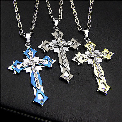 Stainless Steel Cross Rhinestone Pendant Necklace Chain Goth Biker GOLD SILVER • 9£