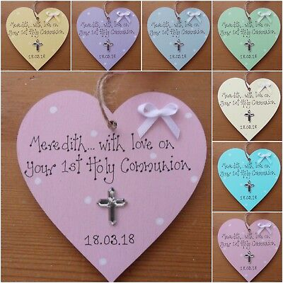 Personalised  1st First  Holy Communion  Wooden Heart Gift  Keepsake Plaque  • 4.75£