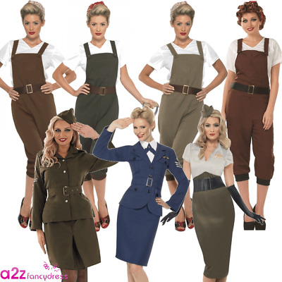 WW2 1940s LADIES WARTIME LAND GIRL PILOT ARMY FANCY DRESS COSTUME OUTFIT • 30.88£