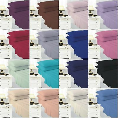 Deep 25cm Fitted Sheet Bed Sheets Single 4ft Double King Super King Size • 2.99£