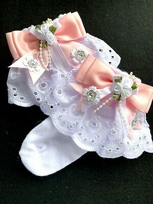 £4 • Buy Girls White Lace-ankle Socks-diamantes-pearls-flower Girl-special Occasion