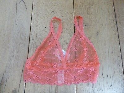 Monsoon Accessorize Coral Pink Salmon Lace Bralet Non Wired Xs S  M Bra • 10.99£