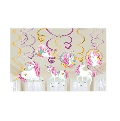AU9.99 • Buy Magical Unicorn Birthday Party Supplies Foil Swirl Hanging Decorations 12 Pieces