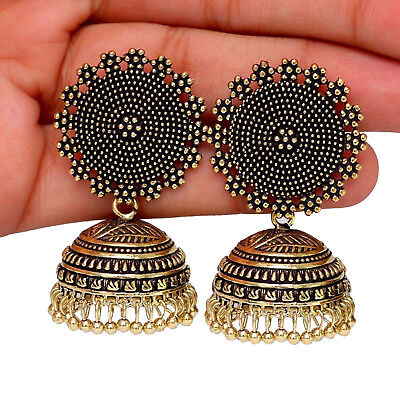 AU12.01 • Buy Bollywood Oxidized Gold Plated Handmade Jhumka Jhumki Traditional Earrings Women