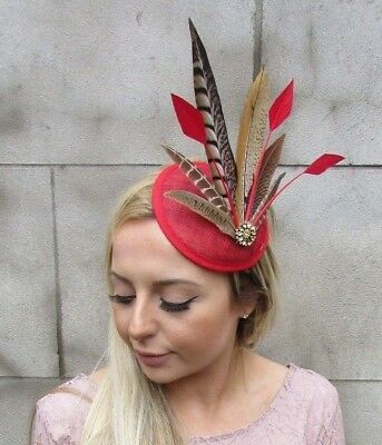 Red Gold Pheasant Feather Pillbox Hat Fascinator Races Hair Clip Wedding 5435 • 18.95£