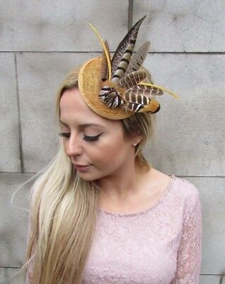 £19.95 • Buy Mustard Yellow Gold Pheasant Feather Pillbox Hat Fascinator Races Hair Clip 5436