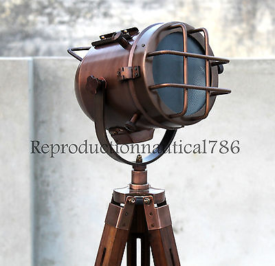 AU101.39 • Buy Vintage Marine Industrial Copper Nautical Floor Lamp With Wooden Tripod Decor