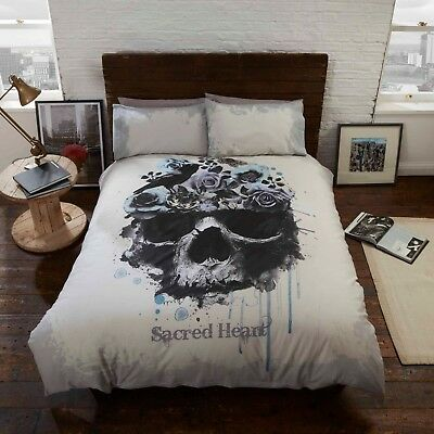 Rapport Sacred Heart Skull Gothic Photographic Print Duvet Cover Bedding Set • 14.99£