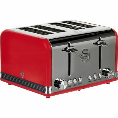 £49 • Buy Swan ST19020RN Retro 4 Slice Toaster Red