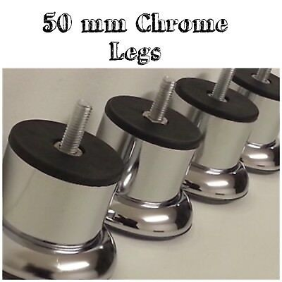 Metal Chrome Furniture Legs/Feet 50 Mm Height Available In Pack Of 4,8 & 12 • 6.99£