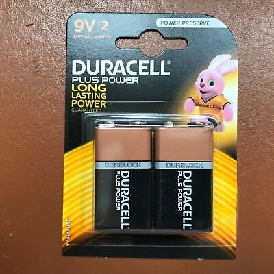 2 X Duracell 9V PP3 Plus Power Batteries Smoke Alarm LR22 MN1604 Long Lasting • 5.39£