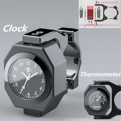 $27.80 • Buy Black Aluminum Motorcycle Handlebar Watch Thermometer Time Clock Temp Night View